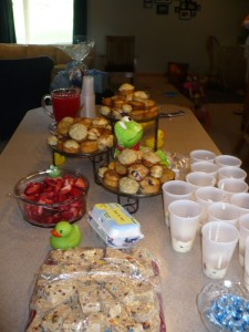 Muffins, Fruit, Parfaits, Egg casserole, Granola and Juice/punch.